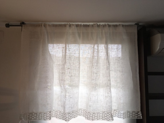 Linen curtains lace curtains shabby chic curtains natural for Tende tirolesi immagini