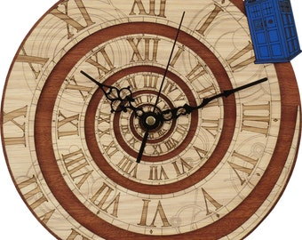 Doctor Who Clock in Wood - Time Vortex Clock, inpired by Doctor Who
