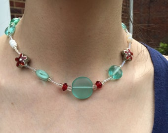 Sea Glass and Flower Bead Necklace