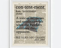 Carolina Panthers football Contentment parody INSTANT DOWNLOAD old dictionary page witty home decor UNFRAMED gift for couple 8x10, 11x14