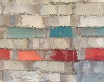 Modern wall art-handmade contemporary printed textile wall hanging.