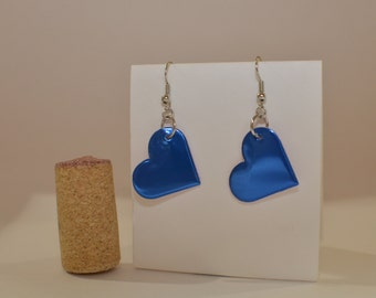 Small Heart Earrings made from blue can