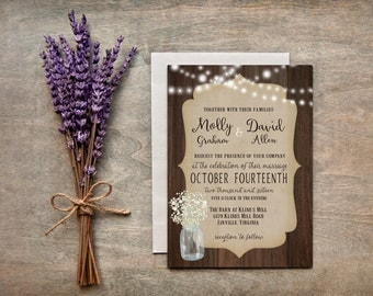 Rustic Mason Jar with Baby's Breath Wedding Invitation  // Digital or Printed //