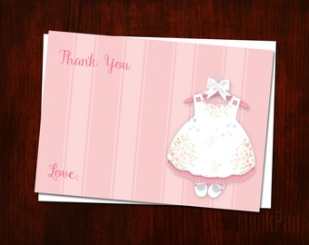 Thank You Notes for Baby Shower, Baby Thank You Cards, Baby Shower Thank You Notes, DIY Printable, Printable Shower Cards, Baby Girl Dress