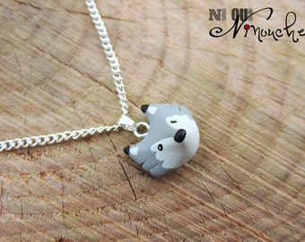 Gray Wolf necklace chain (fimo) small head of little wolf cub