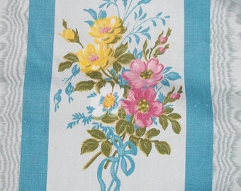 Beautiful Vintage French 1920's Ticking Fabric Sateen Cotton Floral bows sky blue stripe