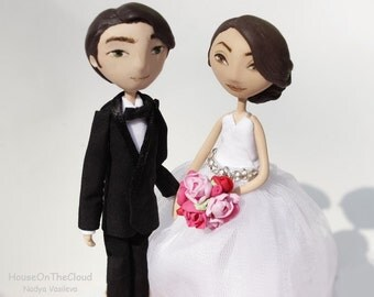 wedding cake topper rustic  bride and groom wedding topper groom in a tuxedo personalized unique wedding custom cake toppers figurine