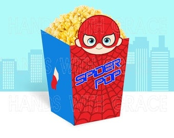"Printable popcorn box ""Spiderman Boy"""