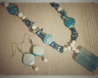 Blue stone necklace and earring set