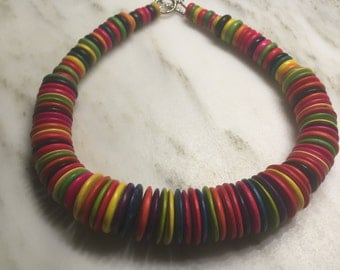 Colorful Wooden Bead Necklaces with Toggle Clasps (Set of 2)       *s