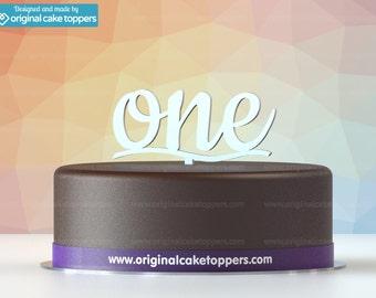 "Baby First Birthday Cake Topper - ""one"" - WHITE - OriginalCakeToppers"