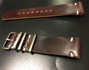Horween Shell Cordovan color #8 two-piece watch strap with mil-type hardware