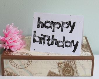 Happy Birthday Greeting Card, Block Print