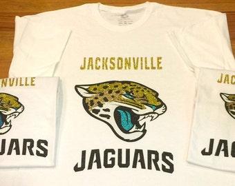 Jacksonville Jaguars Football Glitter HTV T-Shirt, Monogrammed Jacksonville Jaguars Football T-Shirt, Gold and Teal Football HTV T-Shirt