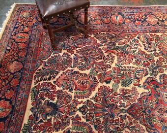 """Stunning Antique Persian Sarouk Rug 8'8"""" x 11'6"""" Organic Dyes Lustrous Wool c.1920"""