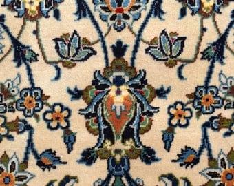 Vintage Persian Rug 7x11 Elegant Blue Kashan 1970s