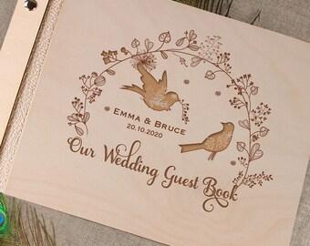 Unique Personalised Wooden Wedding Guest Book Alternative Vintage Rustic Birds