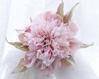 Pink Silk Peony Corsage flower brooch Gabriel ll, hat or dress hair accessories. Handmade silk flowers. Statement Flower Headpiece