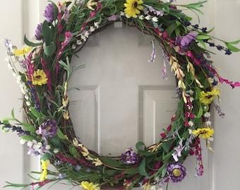 Wildflower Wreath. Spring Wreath. Summer Wreath. Home Decor. Housewarming Wreath