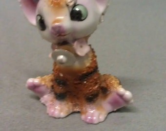 Vintage Brown Stripe Cat with Pink Feet Ears and Nose Figurine