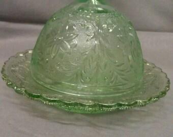 Tiara Chantilly Green Glass Butter Dish