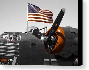 "Patriotic""Held High""Canvas Art Print,Vintage Military Airplane,Fine Wall Art Photography,World War 2 Aircraft,Military Print,American Flag"