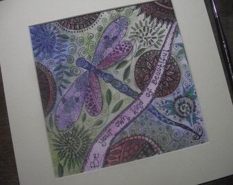 Dragonfly art print,mandala art,uplifting art print,be your own kind of beautiful,dragonfly art,dragonfly print,positive words,uplifting art