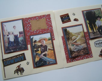 Cowboy Scrapbook Pages - Farm Scrapbook Layouts - Cowboy Scrapbook Layouts - Farm Scrapbook Pages - Boys Farm Birthday Pages- Boy Pages