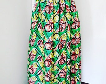 Alison yellow and green African Wax Maxi Skirt, Ethnic print skirt, Long African skirt – Made to Order.