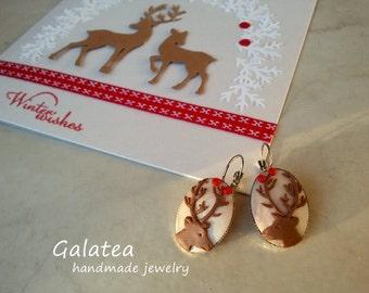 Deer jewelry Santa's reindeers jewelry Christmas deer earrings Rudolph Reindeer earrings  Winter Fashion jewelry Christmas gift for woman