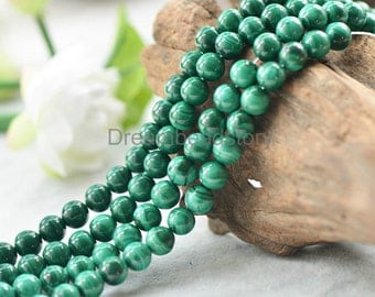 AAA Natural Malachite Gemstone Beads, Full Strand Genuine Green Healing Stone 6 8 10 12mm Loose Beads Bulk Supplies (ZW9)