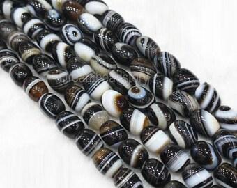 Natural Black and White Sardonyx Tibetan DZI Beads, 11*14mm 13*18mm Loose Barrel Spacer Beads