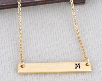 Letter M Necklace Initial Alphabet 26 Personalized A to Z Handmade Fine Brass Horizontal Bar Necklace Monogram Name Jewelry Gift BN493G-26