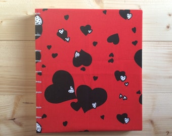 Large Red Lovers Hearts Photo Album | Valentine's Day | Coptic Stitch | Sketchbook | Journal | Notebook