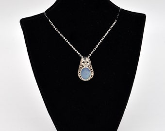 Sterling Silver Polished Blue Opal Necklace