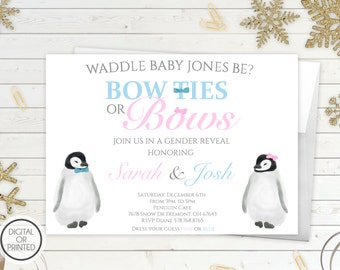 Gender Reveal Invitation | Bowties or Bows Invitation | Waddle It Be Gender Reveal | Penguins | He or She | Winter Theme | Holiday