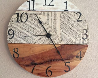 Rustic Vintage Music Sheet and distressed Palletwood Clock Sample - custom clock will be made with similarities of wood and music paper