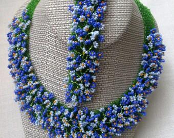 Ukrainian jewelry. Forget Me Not. Blue Necklace. Beaded. Ukrainian necklace.