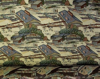 Vintage Airplane Novelty Tapestry Upholstery Fabric