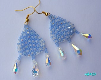Earrings with Swarovski crystal and seed beads