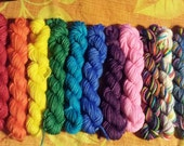 Mini Skein Special order Merryl, Sock yarn Minis, 12 mini skeins, 5 Grams each- dyed to order