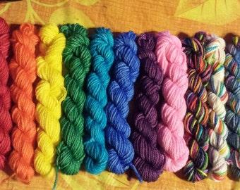 Mini Rainbow Mini Skeins set, Sock yarn Minis, 12 mini skeins, 5 Grams each- Ready to Ship