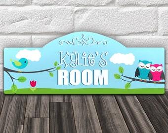 "Custom PERSONALIZED Kids Wood Wall Room Door Sign Blue Boys Nursery Bedroom Decor Tweet Dreams Birdie & Owls Theme 15 x 6"" GREAT Gift!"