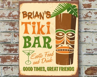 Custom PERSONALIZED TIKI BAR Vintage Style Aluminum Metal Tin Sign Traditional Antique Look Game Room Pool Man Cave Bar Pub Tavern Wall