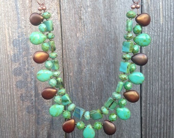 Bronze and green statement necklace