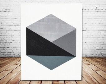 Gray Hexagon Acrylic Painting Canvas Art Wall Art Large Art Abstract Painting Geometric Art Original Painting