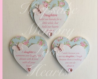 Daughter gift set of three wooden heart magnets