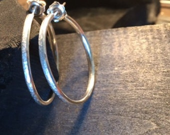 Womens Handmade Sterling Silver Hammered Hoop Earrings; Silver Earrings; Silver Earhoops; Ladies Earrings; Fashion Earrings; Hoop Earrings