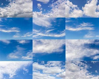 Digital Sky Overlays / Blue Cloud Sky Overlays / Photography Overlays / Sky Replacements / Collection Two