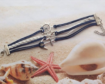Nautical Beach Bracelet Antique Silver Rudder Anchor Infinity Charm Navy Wax Cord White Braided Leather